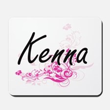 Kenna Artistic Name Design with Flowers Mousepad