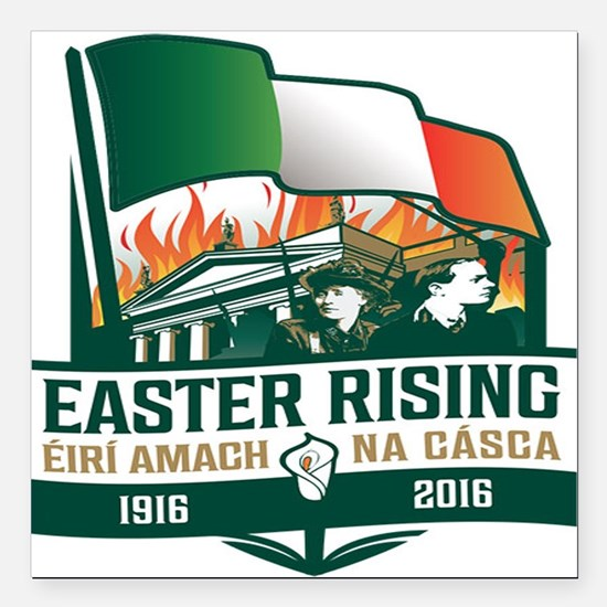 "Easter Rising (Gaelic) Square Car Magnet 3"" x 3"""