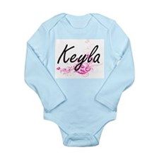 Keyla Artistic Name Design with Flowers Body Suit