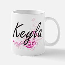 Keyla Artistic Name Design with Flowers Mugs
