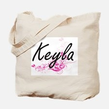 Keyla Artistic Name Design with Flowers Tote Bag