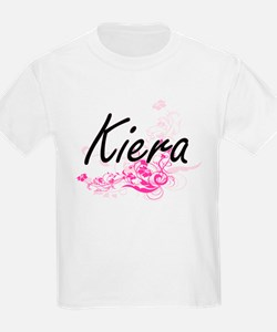 Kiera Artistic Name Design with Flowers T-Shirt