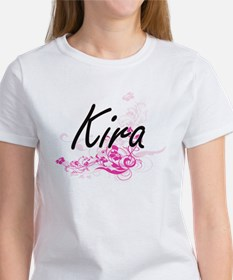 Kira Artistic Name Design with Flowers T-Shirt