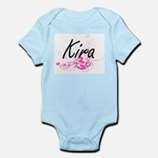 Kira Artistic Name Design with Flowers Body Suit