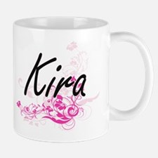 Kira Artistic Name Design with Flowers Mugs
