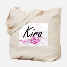 Kira Artistic Name Design with Flowers Tote Bag