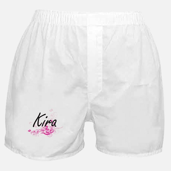 Kira Artistic Name Design with Flower Boxer Shorts