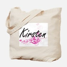 Kirsten Artistic Name Design with Flowers Tote Bag