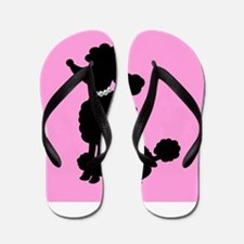 Pink and Black French Poodle Flip Flops