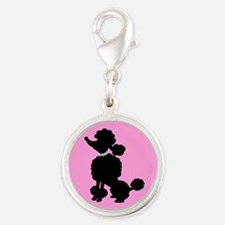 Pink and Black French Poodle Charms