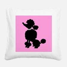 Pink and Black French Poodle Square Canvas Pillow
