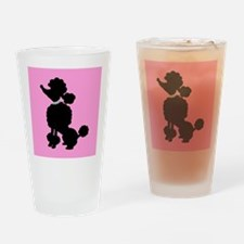 Pink and Black French Poodle Drinking Glass