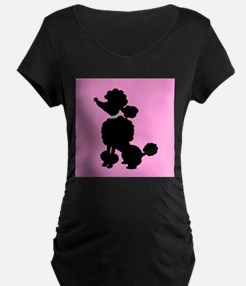 Pink and Black French Poodle Maternity T-Shirt