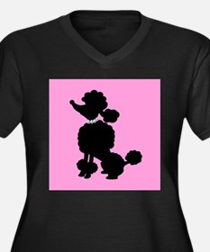 Pink and Black French Poodle Plus Size T-Shirt
