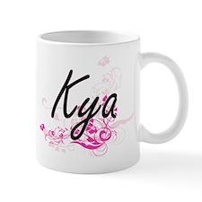 Kya Artistic Name Design with Flowers Mugs