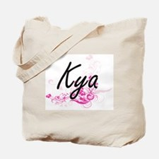 Kya Artistic Name Design with Flowers Tote Bag