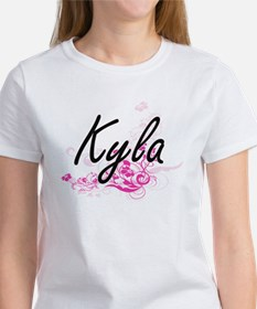 Kyla Artistic Name Design with Flowers T-Shirt