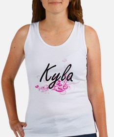 Kyla Artistic Name Design with Flowers Tank Top