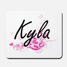 Kyla Artistic Name Design with Flowers Mousepad