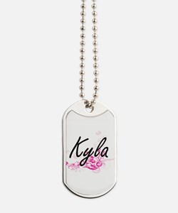 Kyla Artistic Name Design with Flowers Dog Tags