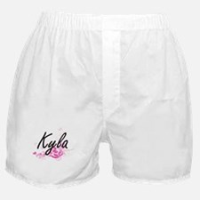 Kyla Artistic Name Design with Flower Boxer Shorts