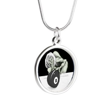 Twisted 8 Ball Billiard Halloween Silver Round Necklace