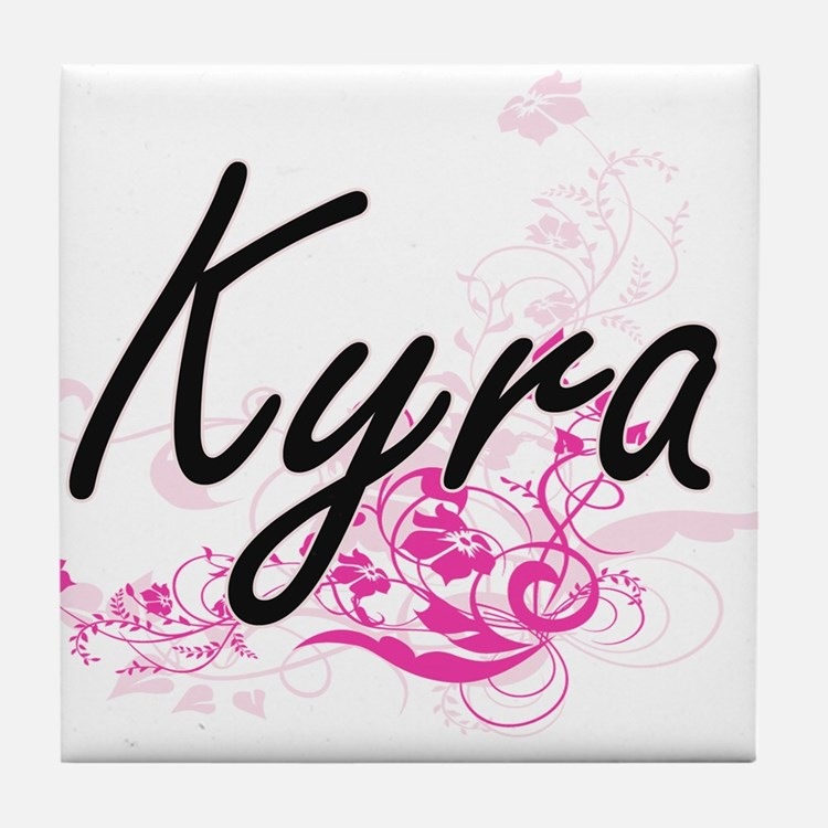 Kyra Artistic Name Design with Flower Tile Coaster