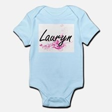 Lauryn Artistic Name Design with Flowers Body Suit