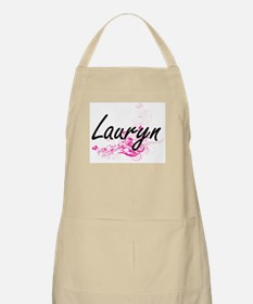 Lauryn Artistic Name Design with Flowers Apron
