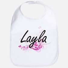 Layla Artistic Name Design with Flowers Bib