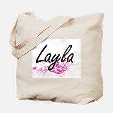 Layla Artistic Name Design with Flowers Tote Bag