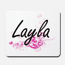 Layla Artistic Name Design with Flowers Mousepad