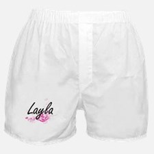 Layla Artistic Name Design with Flowe Boxer Shorts