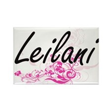 Leilani Artistic Name Design with Flowers Magnets
