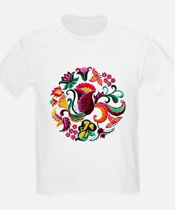 Jacobean Embroidery Flowers T-Shirt