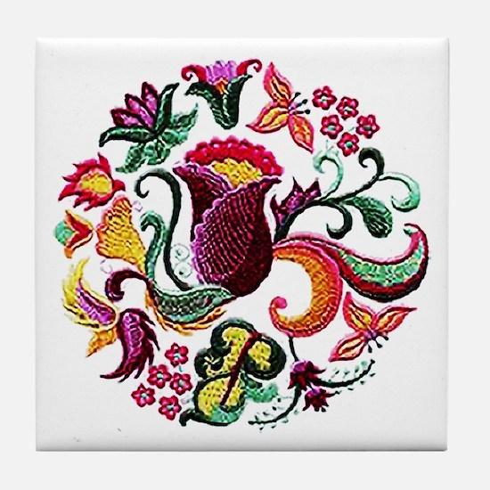 Jacobean Embroidery Flowers Tile Coaster