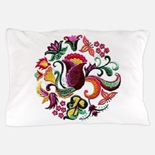 Jacobean Embroidery Flowers Pillow Case