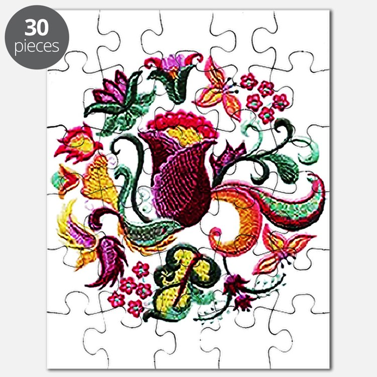 Jacobean Embroidery Flowers Puzzle