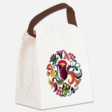 Jacobean Embroidery Flowers Canvas Lunch Bag