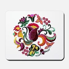 Jacobean Embroidery Flowers Mousepad