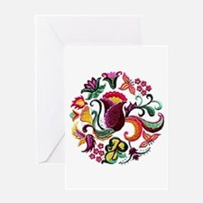 Jacobean Embroidery Flowers Greeting Card