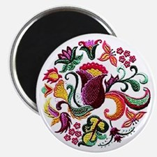 Jacobean Embroidery Flowers Magnet