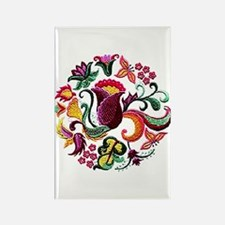 Jacobean Embroidery Flowers Rectangle Magnet