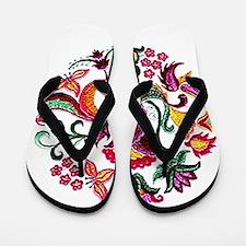 Jacobean Embroidery Flowers Flip Flops