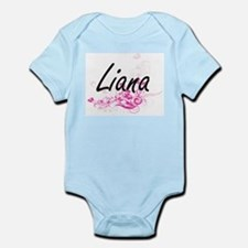 Liana Artistic Name Design with Flowers Body Suit