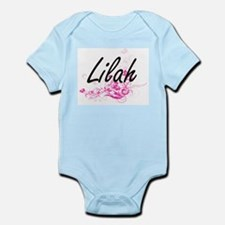 Lilah Artistic Name Design with Flowers Body Suit