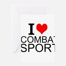 I Love Combat Sports Greeting Cards