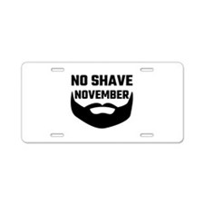 No Shave November Aluminum License Plate
