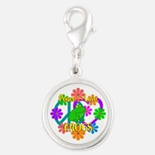 Peace Love Frogs Silver Round Charm