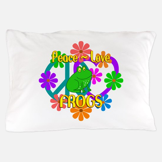 Peace Love Frogs Pillow Case